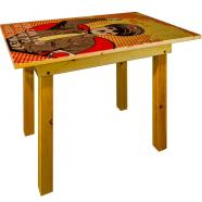 printed wooden table